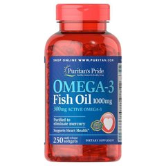 Рыбий жир Puritan's Pride Omega-3 Fish Oil, 250 softgels