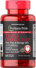 Рыбий жир Triple Omega 3-6-9 Puritans Pride 60 softgels