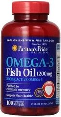 Рыбий жир Puritan's Pride Omega-3 Fish Oil, 1200 mg 100 softgels