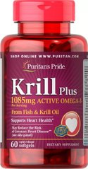 Масло криля Puritans Pride Krill Plus (1085mg Active Omega 3) - 60 softgels